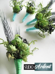 GREY Beer Hops Wheat and Green Moss Boutonnieres. $23.00, via Etsy.
