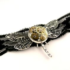 Victorian lace Dragonfly Choker Necklace ( watch gears parts in resin ) Goth Dragonfly / Steampunk Dragonfly