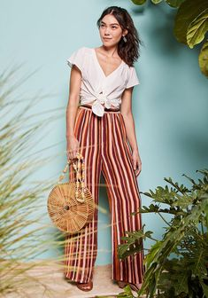 Vibrant vertical striped pants that are begging to be worn on the dance floor. 22 Must-Have Cozy Summer Pants For People Who Don't Mess With Jeans Wide Leg Trousers, Cropped Pants, Flowy Pants Outfit, Elephant Pants, Summer Pants, Floral Pants, Drawstring Pants, Dress To Impress, Cute Outfits