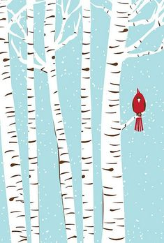 Screenprint Art - Winter Cardinal Art Print - Poster Silkscreen Hand Pulled - Snow w/ Birch Trees & Red Bird Art Print USD) by strawberryluna Winter Trees, Winter Art, Winter Painting, Winter Snow, Winter Tree Drawing, Painting Art, Snowy Trees, Hello Winter, Illustration Noel