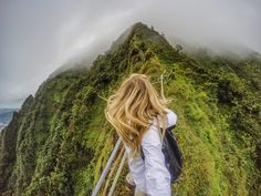 """Hiking a new destination often leads to the best views you can find! Most recently, I climbed the Stairway to Heaven in Oahu, also known as Haiku Stairs, is one of the most popular """"forbidden"""" hikes. People climb up here for the breathtaking panoramic views, even though the trail is closed today. #GoProGirl #GoProTravel"""