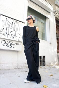 Loose Linen Black Pants / Wide Leg Pants Autumn от Aakasha на Etsy
