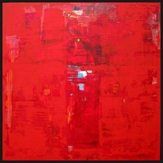 Acrylic on canvas solomon red abstract art painting canvas 48x48 Shawn McNulty