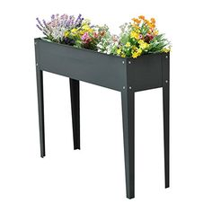"""Industrial style porch and patio decor! This flower planter in gray is simple, letting the colorful flowers be the highlight. Outsunny 40"""" x 12"""" x 32"""" Metal Elevated Garden Bed Planter Box (Dark Gray) [ad]"""