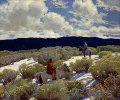 """shear-in-spuh-rey-shuhn: """"E. MARTIN HENNINGS Riders At Sunset Oil on Canvas 30″ x 36.125″ """""""