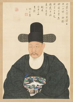 (Korea) Portrait of Scholar-Official in his 50th years old, Yi Jaegwan. Joseon…