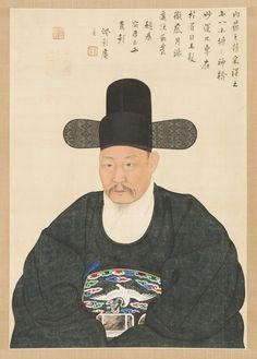(Korea) Portrait of Scholar-Official in his 50th years old, Yi Jaegwan. Joseon…