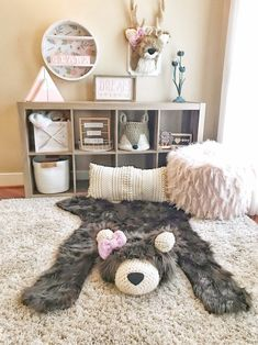 Cuddle up this cozy bear rug! Baby Room Decor, Nursery Room, Nursery Themes, Girl Nursery, Girl Room, Nursery Ideas, Baby Rooms, Cabin Nursery, Baby Room Rugs
