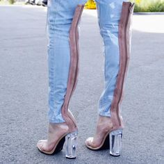 Thigh High Boots, High Heel Boots, Over The Knee Boots, Heeled Boots, Transparent Heels, Gladiator Boots, Boots Store, Chunky High Heels, Sexy Boots