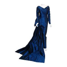 Christian Dior Haute Couture Long Blue Gown Provenance Betsy... ($12,245) ❤ liked on Polyvore featuring dresses, gowns, gown, long evening dresses, long gown, blue dress, long sleeve evening dresses and blue long dress