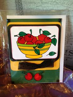 Card with envelope Cherry by buttonsandbottles on Etsy, $2.95