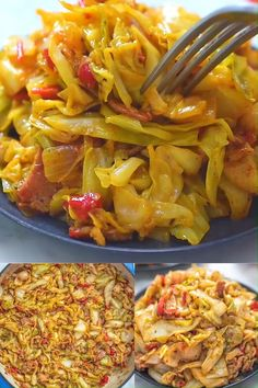 The Best Fried Cabbage Recipe (VIDEO) is part of Cabbage recipes - This Fried Cabbage recipe is insanely good! Made with bacon, onion, bell pepper, and hot sauce, it is easy to make and comes out perfect every time! Veggie Dishes, Vegetable Recipes, Food Dishes, Diet Recipes, Vegetarian Recipes, Cooking Recipes, Healthy Recipes, Paleo Fall Recipes, Steak Recipes