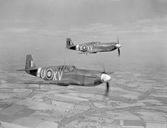 Two RAF North American Mustang Mark Is (AG550 'XV-U' and AM112 'XV-X') of No. 2 Squadron RAF based at Sawbridgeworth, Hertfordshire, in flight over Cambridgeshire. AG550 is being flown by Wing Commander A.J.W. Geddes, the squadron commander.