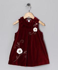 Red Flower Velveteen Dress - Infant #zulily #zulilyfinds