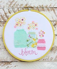 Flowers in a mason jar embroidery hoop art