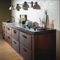 Home Decor Kitchen, New Kitchen, Pitt Cooking, Kitchen Cabinets Fronts, Kitchen Utensils Store, Industrial Kitchen Design, Design Kitchen, Kitchen Models, Loft Design