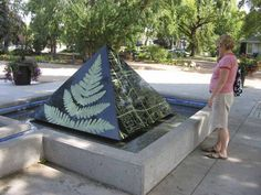 Engraved granite pyramid at Muttart Conservatory, Edmonton AB Public Art, Conservatory, Laser Engraving, Granite, Art Projects, Abs, Live, Crunches, Winter Garden