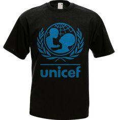 UNICEF WHO Logo Men Black T-Shirt BARCELONA