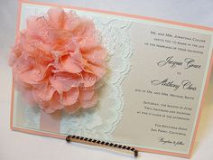 CASSANDRA-5 Lace Wedding Invitation, Invite, Vintage, Shabby Chic, Couture, Elegant. $637.50, via Etsy.  Have the lace and the flower printed on, and a peach border rather than the bulky 'real flower'