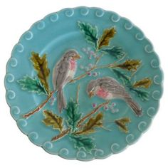 Check out this item at One Kings Lane! Majolica Birds & Holly Wall Plate $215