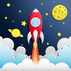 Illustration Of Rocket In Space Illustration der Rakete im Weltraum Premium Vector Space Party, Space Theme, Space Space, Diy For Kids, Crafts For Kids, Astronaut Party, Space Illustration, Business Illustration, Art Drawings For Kids