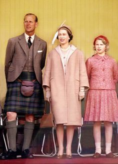 Queen Elizabeth II, Prince Philip and Princess Anne at the Highland Games, 1962.