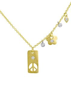 Meira T. Peace Sign Pendant And Charm Necklace   Price: $682.00