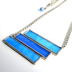 Stained Glass Jewelry Blue Statement Necklace by BayouGlassArts, $42.00