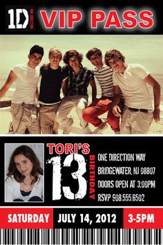 One direction birthday party vip vip ticket invitation and one direction birthday invite vip pass by cherimorandesign 1000 m4hsunfo