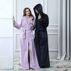 fb1cac7102 Womens Mens Long Sleepwear Robes Shawl Hooded Coral Fleece Bathrobe Spa  Pajamas  Bathrobe  Coral