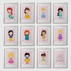 Princess Wall Art princess wall art - canvas or prints - pink gray nursery playroom