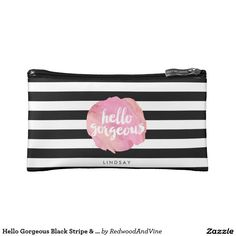 @redwoodandvine Hello Gorgeous Black Stripe & Pink Watercolor Cosmetics Bags