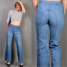 Vintage 1970s WRANGLER Flared High-Waisted by ItinerantVintage