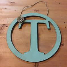 Rustic Distressed Initial Circle Letter X - Rustic Aqua Blue Door Hanger; Letters A,B,C,D,E,F,G,H,I,J,K,L,M,N,O,P, Q,R,S,T,U,V,W,X,Y,