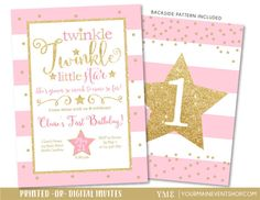 Twinkle Twinkle Little Star Birthday Invitation, Twinkle Twinkle Little Star Invite, Pink and Gold Glitter, First Birthday, 1st Birthday