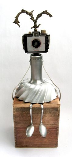 Holi - Found Object Robot Assemblage Sculpture by by Adoptabot. LOVE her!!
