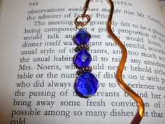 Copper Squiggle Bookmark with Cobalt Blue & by BlissfulVine, $7.25