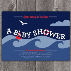 Nautical Shower  Custom Digital Baby Shower by KimNelsonCreative, $15.00