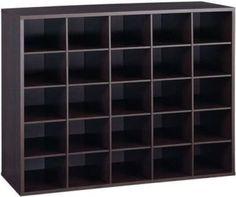 Closet Shoe Organizer Storage Cabinet Cube, 25 Pair Floor Cubby - Espresso
