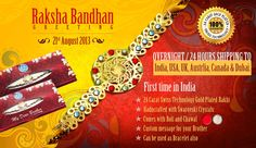 24 carat gold plated Rakhi with Swastika from exclusive collection of Rakhi at Diviniti visit @ http://www.diviniti.co.in