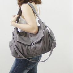 New Year Sale  Gray Canvas Women Shoulder Bag Messenger by Kinies, $55.00