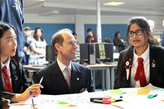 Prince Edward praises efforts of school kids and Manchester City players as he helicopters in for special visit