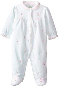 eaef2e1d08a6 Amazon.com  Little Me Baby-Girls Newborn Rosebud Velour Footie