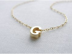 Tiny Gold Letter Necklace