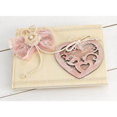 Βιβλίο Ευχών για κορίτσι με Vintage ζωγραφιστή ξύλινη καρδιά και δαντέλα Continental Wallet, Vintage, Vintage Comics