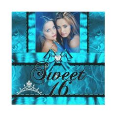 Twin Girls Blue Teal Sweet Sixteen Sweet 16 Custom Invites Add your own Photo  Personalized Invitations by zizzago.com