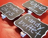 Idea: chalkboard paint on cardboard, glue to clothes pin, use as tag or price tag.