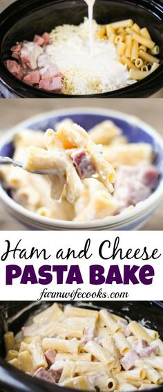 Are you looking for an easy crock pot meal? This Ham and Cheese Pasta Bake is the perfect, kid-friendly weeknight meal!