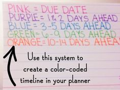 Tricks] Color Coded Planner: Organizing Study Time in College → can be applied to any other walk of your life![Planner Tricks] Color Coded Planner: Organizing Study Time in College → can be applied to any other walk of your life! High School Hacks, Life Hacks For School, School Study Tips, College Hacks, College Life, Middle School Hacks, Back To College, Back To School Hacks For Teens, College Board