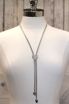 Long Lariat Heart Necklace